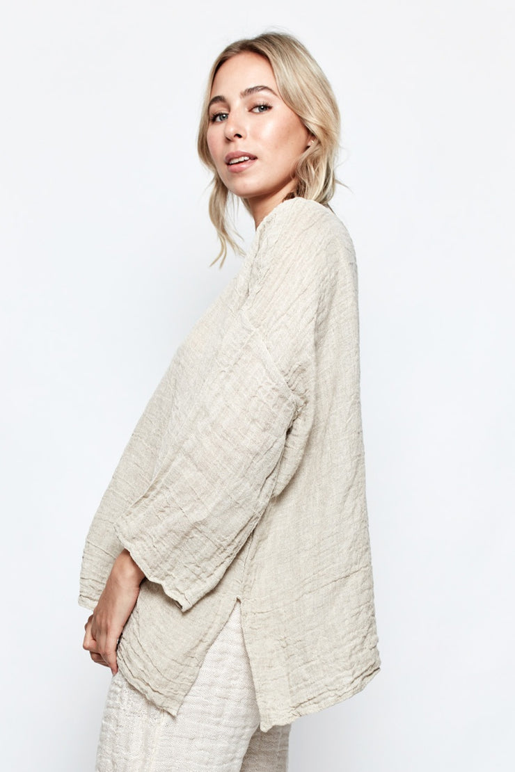 Natural Sirmione Top Positano Top With Sleeve