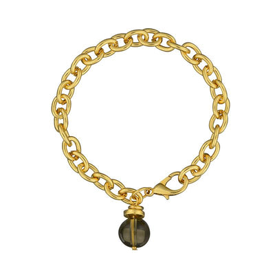 Brie Leon Glass Bead Bracelet Gold / Smoke
