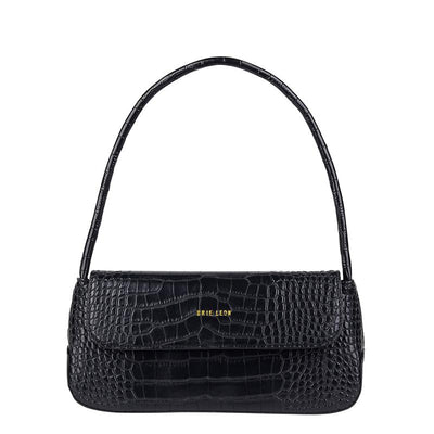 The Camille Bag Black Croc