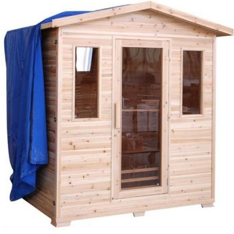 SunRay Grandby 3 Person Outdoor Infrared Sauna HL300D Side Front View