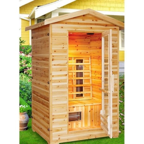 SunRay Burlington 2 Person Outdoor Infrared Sauna HL200D Side Front View