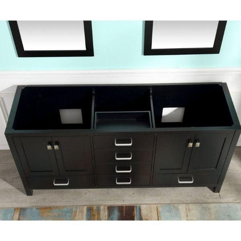 ANZZI Bathroom Vanities ANZZI Chateau 72 x 36 Rich Black Double Bathroom Vanity V-CHN012-72 Top View