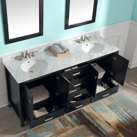 ANZZI Bathroom Vanities ANZZI Bath Vanity Rich Black V-CHN012-72 To Sink and Storage View