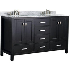 ANZZI Chateau 60 x 36 Rich Black Double Bathroom Vanity V-CHO015-60