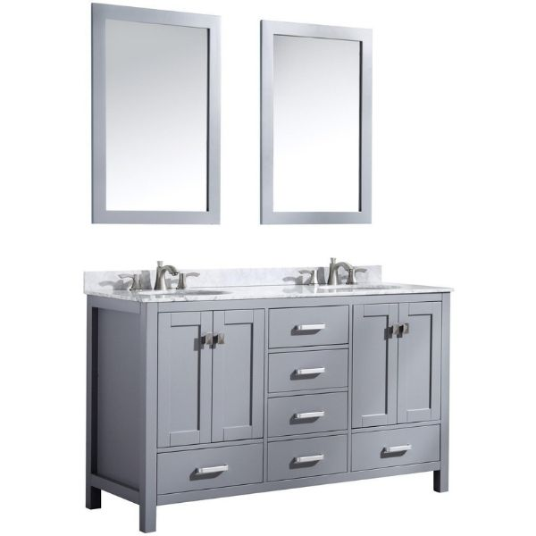 ANZZI Bathroom Vanities ANZZI Chateau Rich Gray Double Bathroom Vanity Front Side View V-CHO013-60