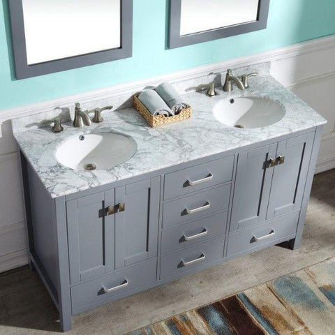 ANZZI Bathroom Vanities ANZZI Chateau Rich Gray Double Bathroom Vanity Front Top View V-CHO013-60