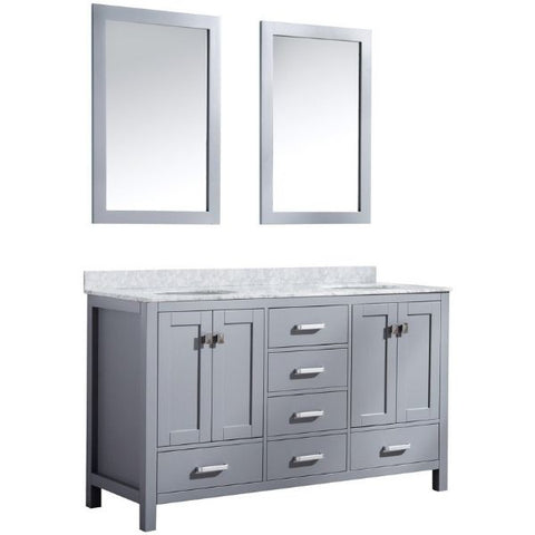 ANZZI Bathroom Vanities ANZZI Chateau Rich Gray Double Bathroom Vanity V-CHO013-60 Front Side View