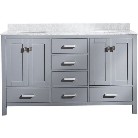 ANZZI Bathroom Vanities ANZZI Chateau Rich Gray Double Bathroom Vanity V-CHO013-60 Front View
