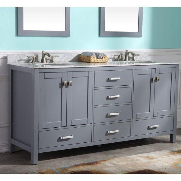 ANZZI Bathroom Vanities ANZZI Gray Bathroom Vanity  Front Side View V-CHN013-72