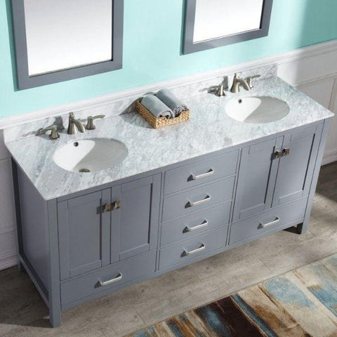 ANZZI Bathroom Vanities ANZZI Gray Bathroom Vanity V-CHN013-72 Two Sink Top View
