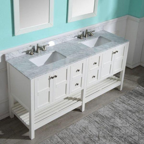 ANZZI Bathroom VanitiesA NZZI Montaigne White Bathroom Vanity Set  Front Side View V-MGG011-72