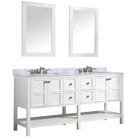 ANZZI Bathroom VanitiesA NZZI Montaigne White Bathroom Vanity Set  Front Side View with Mirror V-MGG011-72