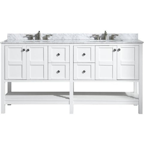 ANZZI Bathroom VanitiesA NZZI Montaigne White Bathroom Vanity Set Front with Faucet View  V-MGG011-72
