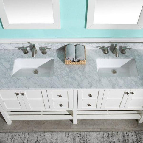 ANZZI Bathroom VanitiesA NZZI Montaigne White Bathroom Vanity Set Sink and Top View V-MGG011-72