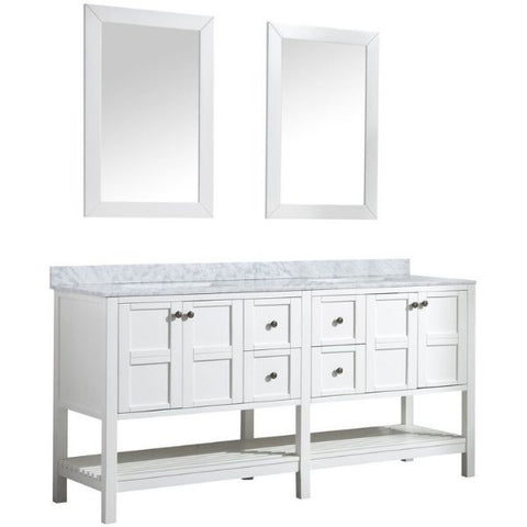 ANZZI Bathroom VanitiesA NZZI Montaigne White Bathroom Vanity Set V-MGG011-72 Front Side View