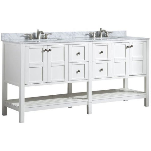 ANZZI Bathroom VanitiesA NZZI Montaigne White Bathroom Vanity Set V-MGG011-72 Front Side View with Faucet
