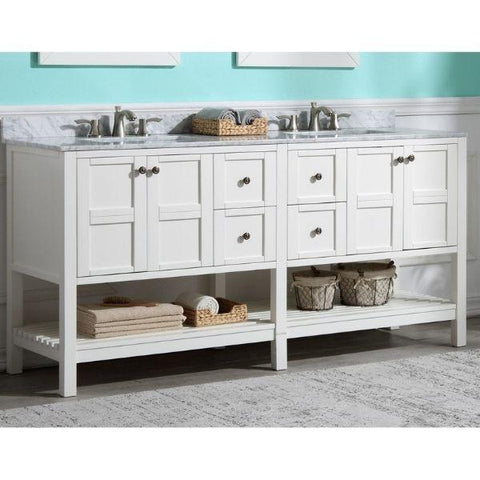 ANZZI Bathroom VanitiesA NZZI Montaigne White Bathroom Vanity Set V-MGG011-72 Front Side with Faucet View