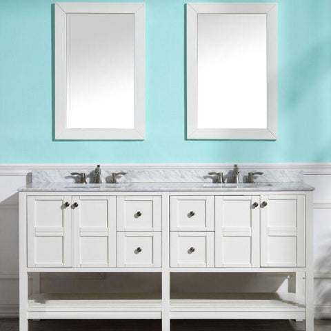 ANZZI Bathroom VanitiesA NZZI Montaigne White Bathroom Vanity Set V-MGG011-72 Front View with Mirror