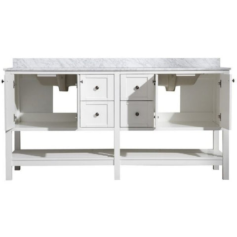 ANZZI Bathroom VanitiesA NZZI Montaigne White Bathroom Vanity Set V-MGG011-72 Front and Cabinet View