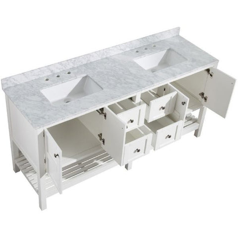 ANZZI Bathroom VanitiesA NZZI Montaigne White Bathroom Vanity Set V-MGG011-72 Top Side View