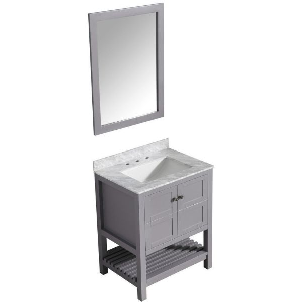 ANZZI Bathroom Vanities ANZZI Montaigne Bathroom Vanity in Rich  Gray Side View  V-MGG013-30