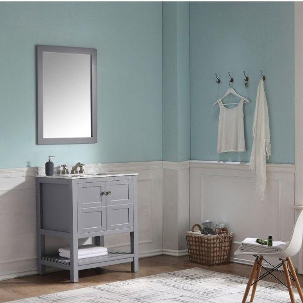 ANZZI Bathroom Vanities ANZZI Montaigne Bathroom Vanity in Rich  Gray V-MGG013-30 Front Side View