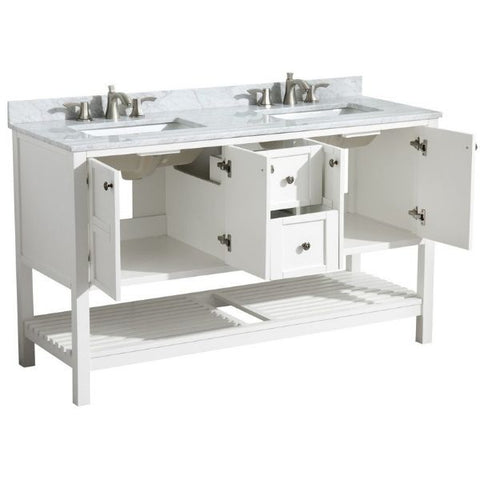 ANZZI Bathroom Vanities NZZI Montaigne White Bathroom Vanity Set  Cabinet Drawer View V-MGG011-60