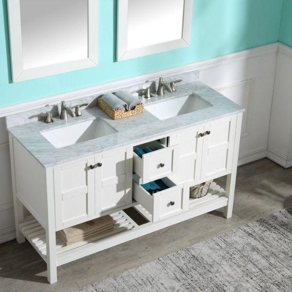 ANZZI Bathroom Vanities NZZI Montaigne White Bathroom Vanity Set  Front Drawer View V-MGG011-60