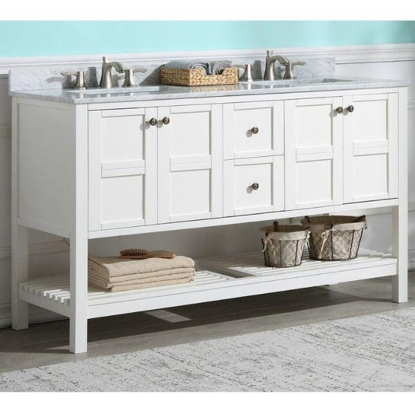 ANZZI Bathroom Vanities NZZI Montaigne White Bathroom Vanity Set Front Side View V-MGG011-60