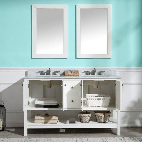 ANZZI Bathroom Vanities NZZI Montaigne White Bathroom Vanity Set  Front Storage View V-MGG011-60