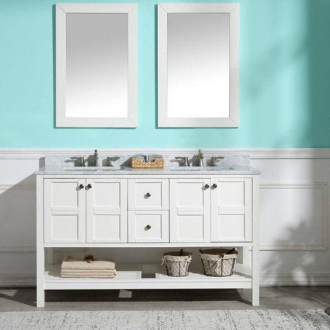 ANZZI Bathroom Vanities NZZI Montaigne White Bathroom Vanity Set  Front View V-MGG011-60