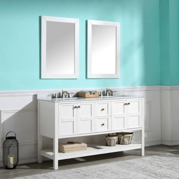 ANZZI Bathroom Vanities ANZZI Montaigne White Bathroom Vanity Set  Side Front ViewV-MGG011-60