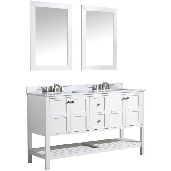 ANZZI Bathroom Vanities NZZI Montaigne White Bathroom Vanity Set V-MGG011-60 Front Side View