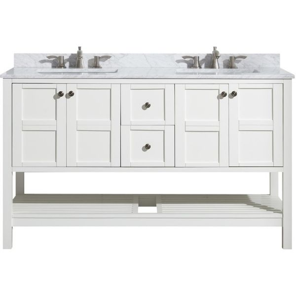 ANZZI Bathroom Vanities NZZI Montaigne White Bathroom Vanity Set V-MGG011-60  Front with Faucet View
