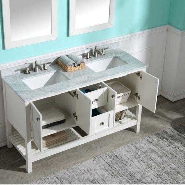 ANZZI Bathroom Vanities NZZI Montaigne White Bathroom Vanity Set V-MGG011-60  Sink Cabinet and Drawer View