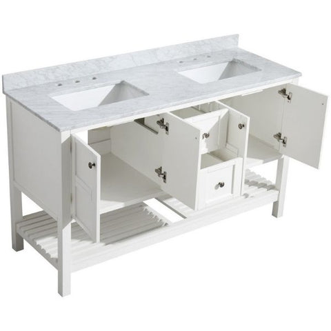 ANZZI Bathroom Vanities NZZI Montaigne White Bathroom Vanity Set V-MGG011-60  Storage Cabinet and Drawer View