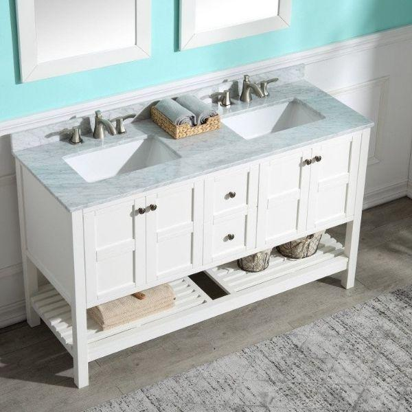 ANZZI Bathroom Vanities ANZZI Montaigne White Bathroom Vanity Set V-MGG011-60 Top Front View