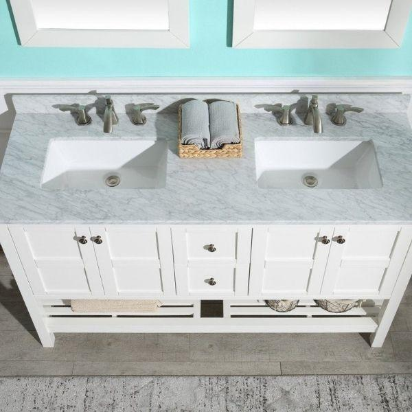 ANZZI Bathroom Vanities NZZI Montaigne White Bathroom Vanity Set V-MGG011-60  Top View