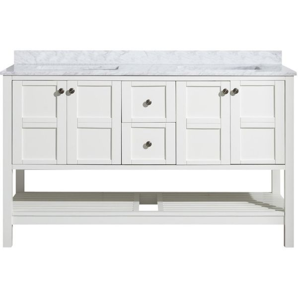 ANZZI Bathroom Vanities NZZI Montaigne White Bathroom Vanity Set V-MGG011-60 Wood Vanity View