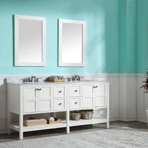 ANZZI Bathroom VanitiesA NZZI Montaigne White Bathroom Vanity Set V-MGG011-72 Front Side with Mirror View