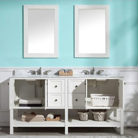 ANZZI Bathroom VanitiesA NZZI Montaigne White Bathroom Vanity Set V-MGG011-72 Front with Mirror View