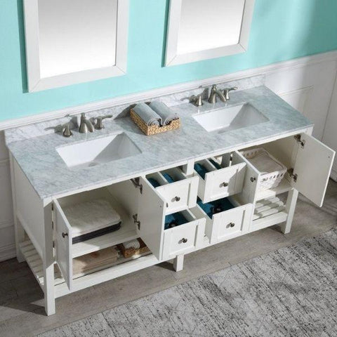 ANZZI Bathroom VanitiesA NZZI Montaigne White Bathroom Vanity Set V-MGG011-72 Storage and Top View