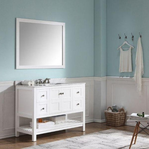 ANZZI Bathroom Vanities ANZZI White Bathroom Vanity Set  Front Side View V-MGG011-36