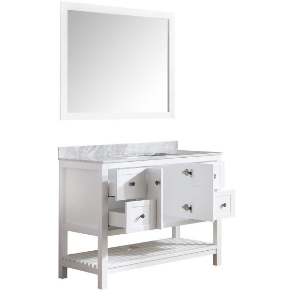 ANZZI Bathroom Vanities ANZZI White Bathroom Vanity Set Side and Cabinet, Drawer View  V-MGG011-36