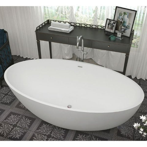 ANZZI Bathtubs ANZZI Cestino Matte White Freestanding Bathtub FT-AZ510 Front Top View