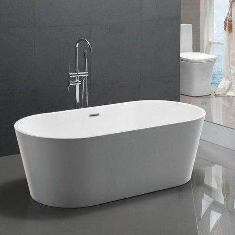 ANZZI Bathtubs ANZZI Chand White Freestanding Bathtub FT-AZ098 Front Side View