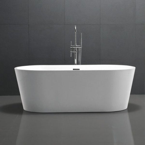 ANZZI Bathtubs ANZZI Chand White Freestanding Bathtub FT-AZ098 Front View