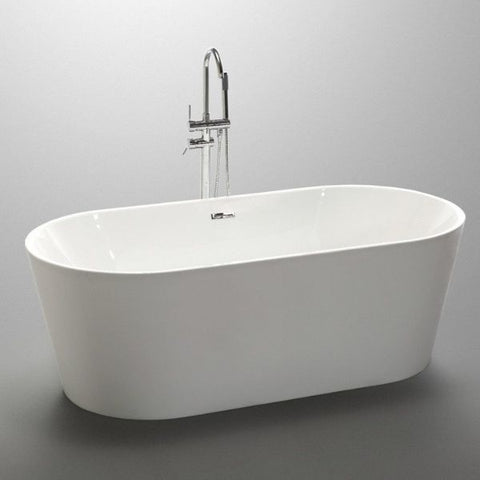 ANZZI Bathtubs ANZZI Chand White Freestanding Bathtub  Front Side View FT-AZ098