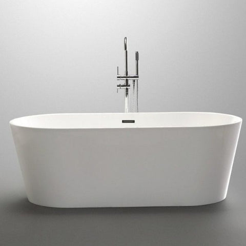 ANZZI Bathtubs ANZZI Chand White Freestanding Bathtub Front View FT-AZ098