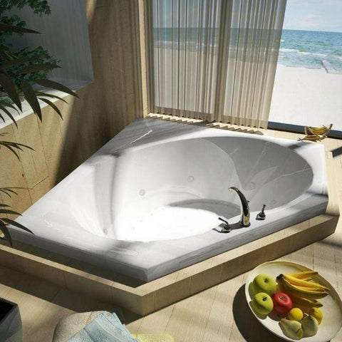 Atlantis Bathtubs Atlantis Whirlpools Eclipse Corner Air & Whirlpool Jetted Bathtub 6060EDR Front Top View